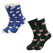 Real Sic Casual Designer Socks for Men and Women - Exotic Animal Series - Breathable and Lightwear Cotton (Sheep & Pig 2 Pack)