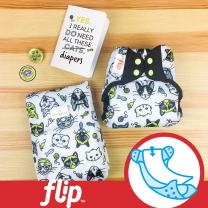 Doodles Collection: Flip Hybrid Reusable Cloth Diaper Cover with Adjustable Snaps and Stretchy Tabs - Fits Babies from 8 to 35+ Pounds (Cattitude)