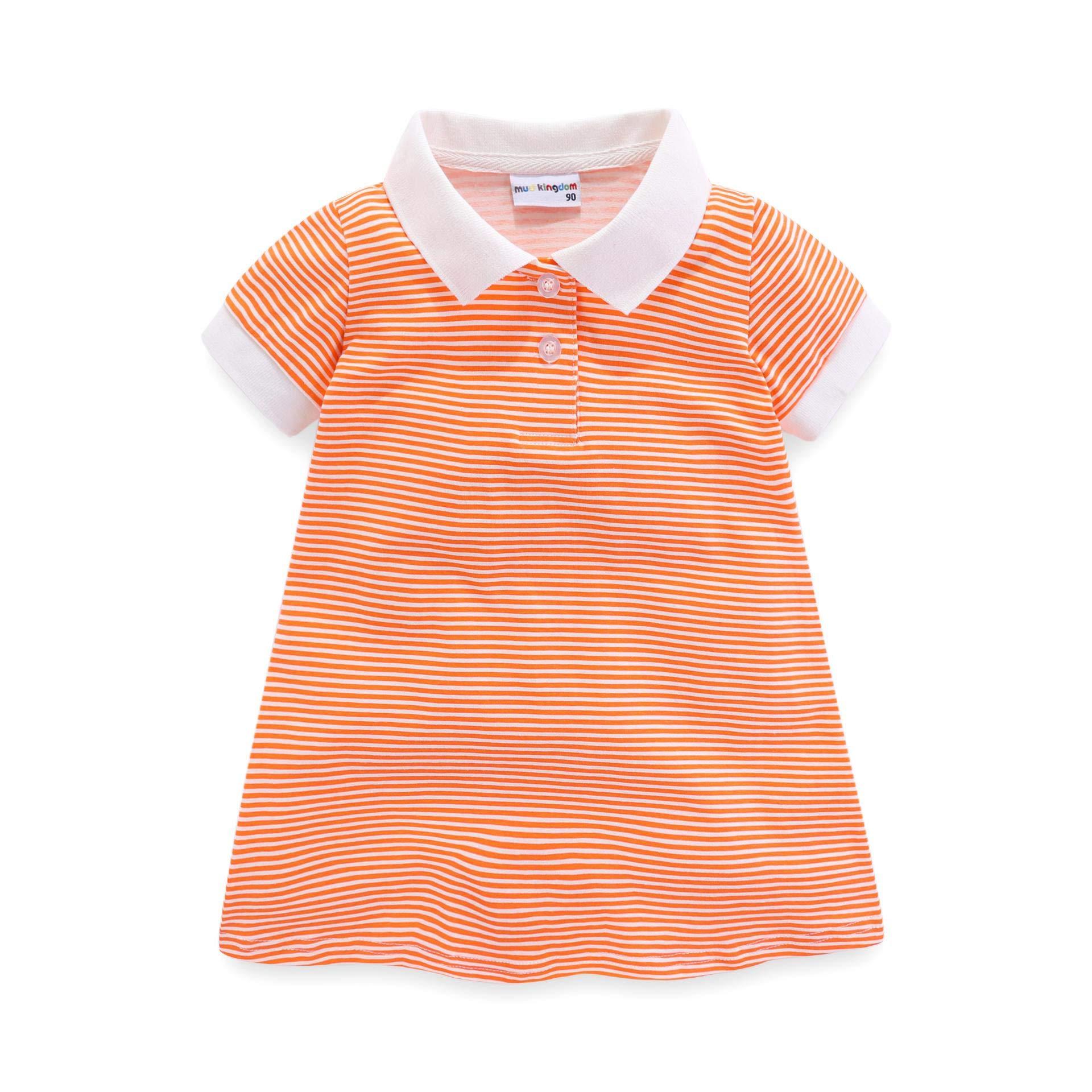 LittleSpring Little Girls Stripe Polo Dress Short Sleeve