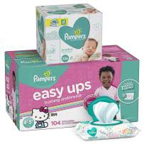 Pampers Easy Ups Pull On Disposable Potty Training Underwear for Girls, Size 6 (4T-5T), 104 Count, ONE MONTH SUPPLY with Baby Wipes Sensitive 6X Pop-Top Packs, 336 Count (Packaging May Vary)
