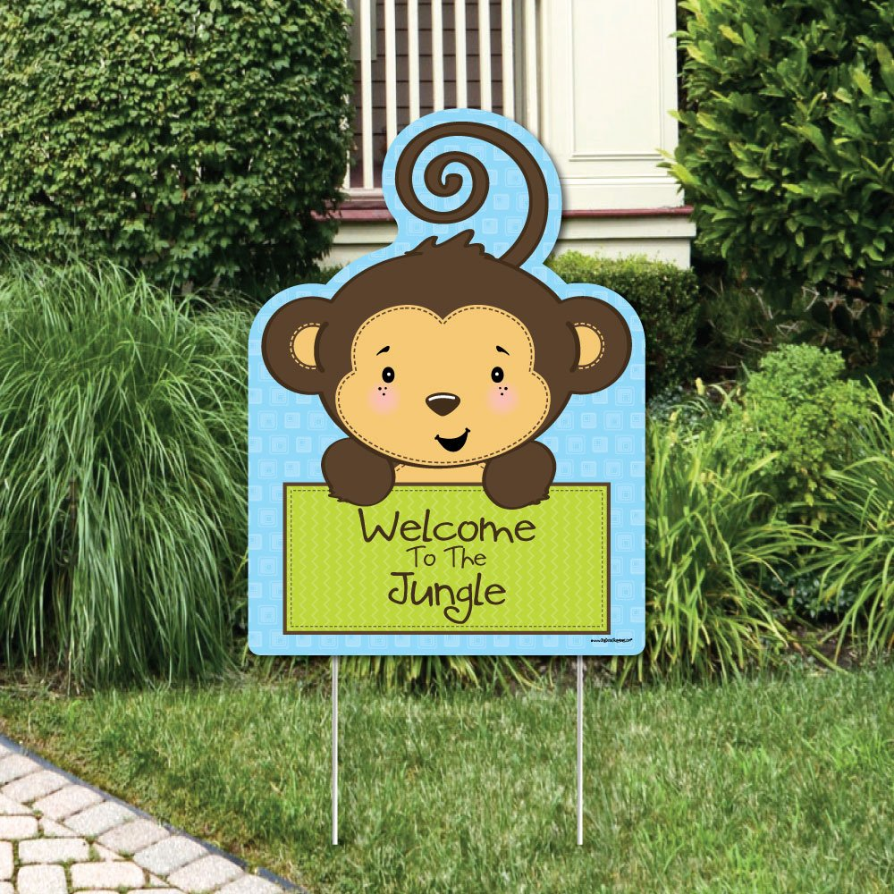 Big Dot of Happiness Blue Monkey Boy - Party Decorations - Birthday Party or Baby Shower Welcome Yard Sign