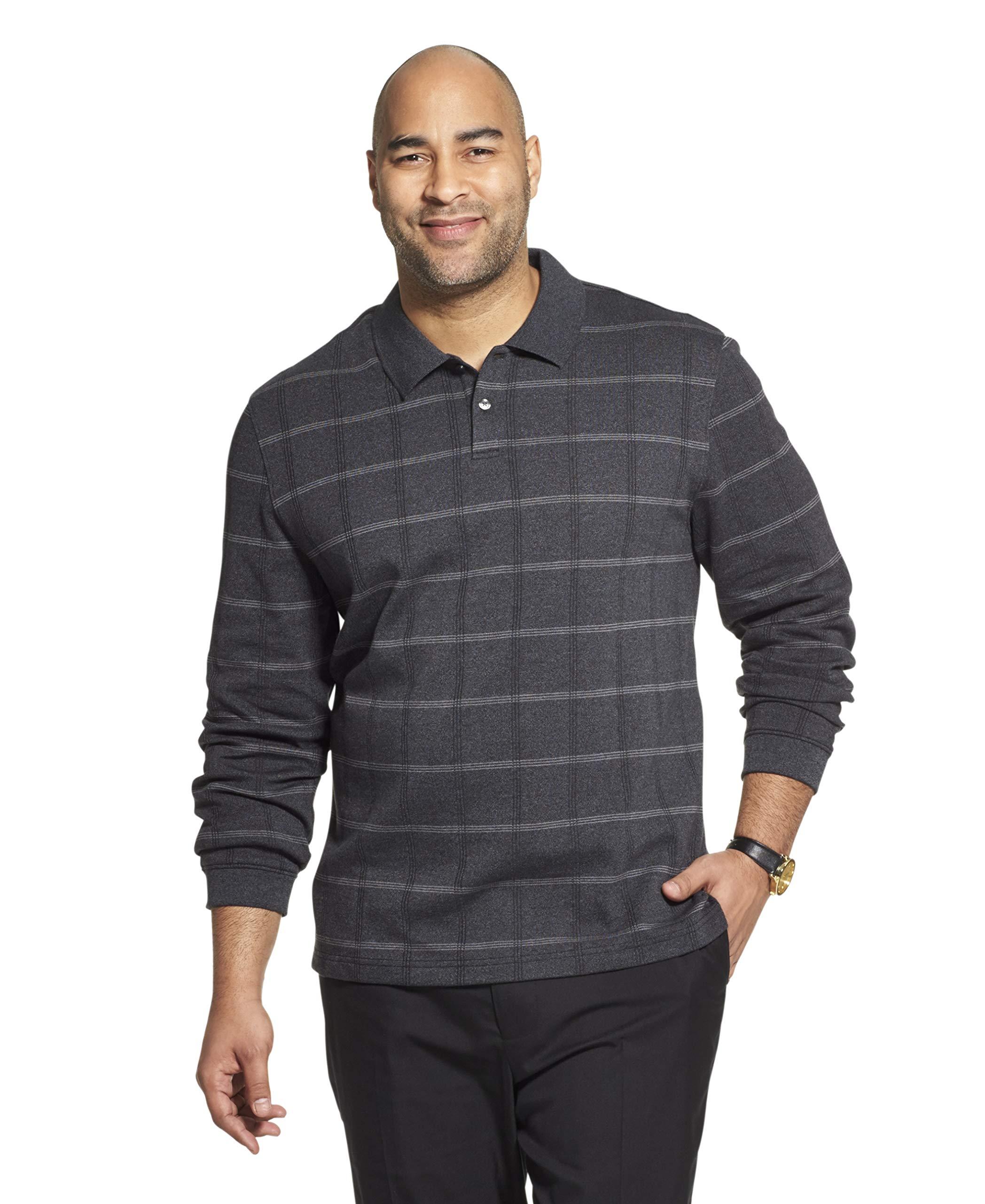 Van Heusen Men's Big and Tall Flex Long Sleeve Jaspe Windowpane Polo Shirt