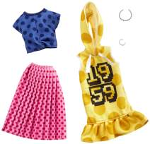 Barbie Clothes: 2 Outfits Doll Feature Polka Dots On A Yellow Hoodie Dress, A Blue Top and Pink Skirt, Plus 2 Accessories, Gift for 3 to 8 Year Olds 
