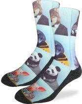 Good Luck Sock Men's Dapper Animals Crew Socks - Blue, Adult Shoe Size 8-13