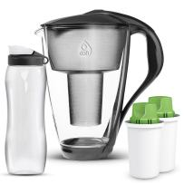 Dafi Alkaline UP Crystal Glass Water Pitcher 8 cups - Highest Quality Water Pitcher made from Borosilicate Glass - Set with 2 Alkaline UP Water Filters and FREE 24 oz Sport Water Bottle (Anthracite)