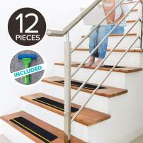 """LifeGrip Textured Rubber Surface Anti Slip Stair Treads, with Reflective Yellow Stripe, Non Slip Safety Tape, Comfortable for Bare Foot, Black, with Free Rubber Roller (6""""X24""""X12P Reflective)"""