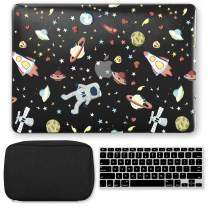 GMYLE MacBook Air 13 Inch Case A1466 A1369 Old Version 2010 2017, Storage Bag Pouch for Travel, Black Keyboard Cover 3 in 1 Set (Space Walk)