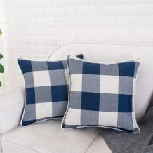 HWY 50 Farmhouse Buffalo Check Plaid Pillows Covers 16x16 inch with Cute Pom Poms Decorative Throw Pillows Covers Cushion Cases for Couch Sofa Living Room Set of 2 Rustic Retro Navy Blue and White