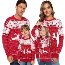 Abollria Family Matching Christmas Sweater Round Neck Reindeer Snowflakes Knitted Ugly Sweater Pullover (Dad,Mom,Kids)