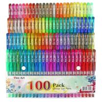 100 Color Glitter Gel Pen Set, 30% More Ink Neon Glitter Coloring Pens Art Marker for Adult Coloring Books Bullet Journaling Crafting Doodling Drawing