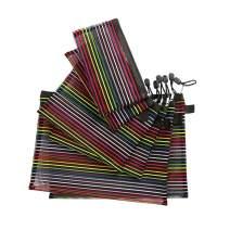 LFJ Mesh Makeup Bags Set Zipper Pouch Cosmetics Bags Travel Organizer Pencil Pouch File Bags (6PCS Black Colorful Strip)