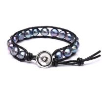 Freshwater Cultured Black Pearl Wrap Bracelets Genuine Leather Stackable Jewelry for Women