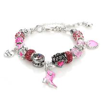 NOVADAB Pink Ribbon Breast Cancer Awareness Charms Bracelet, Silver Tone 'I Love You' Bead Bracelet