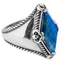 Carolyn Pollack Sterling Silver Agate & Labradorite Gemstone Kite-Set Ring Size 5 to 10