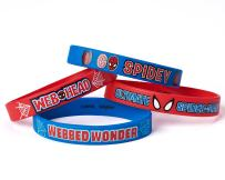 """Marvel's Ultimate Spider-Man Birthday Party Rubber Bracelet Favour, Pack Of 4, Blue/Red , 2.5 """" X .5"""", Rubber"""