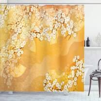 "Ambesonne Asian Shower Curtain, Japanese Cherry Blossom Sakura Tree Branches Blooms Artwork, Cloth Fabric Bathroom Decor Set with Hooks, 70"" Long, Marigold Cream"
