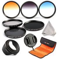 55mm Filter, K&F Concept 6pcs 55mm Slim Lens Filter Kit ND2 Filter + ND4 Filter + Neutral Density ND4 Filter + Graduated Color Filter Lens Filter Set