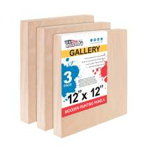 """U.S. Art Supply 12"""" x 12"""" Birch Wood Paint Pouring Panel Boards, Gallery 1-1/2"""" Deep Cradle (Pack of 3) - Artist Depth Wooden Wall Canvases - Painting Mixed-Media Craft, Acrylic, Oil, Encaustic"""