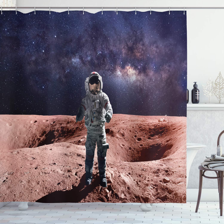 "Ambesonne Galaxy Shower Curtain, Brave Astronaut Standing on Red Planet Mars Rocky Stone Surface Nebula Print, Cloth Fabric Bathroom Decor Set with Hooks, 70"" Long, Rust Indigo"