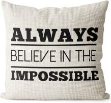 BEDSUM Linen Throw Pillow Cover, Always Believe in The Impossible for Living Room Sofa Couch Square Decorative Bed Pillow Case, 18 × 18 Inches
