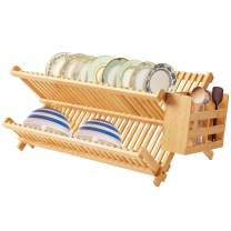 Vaiyer Bamboo Foldable Dish Rack, Folding 2-Tier Collapsible Drainer Dish Drying Rack with Utensils Flatware Holder Compact Dish Holder for Kitchen Countertop
