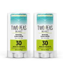 Two Peas Organics Sunscreen Sticks - All Natural Organic Mineral Face Sunscreen - Baby, Kid & Family Friendly - Coral Reef Safe - SPF 30 Waterproof & Unscented .5oz - 2 Pack