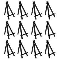"""U.S. Art Supply 6"""" Mini Black Plastic Display Easel (Pack of 6), A-Frame Artist Painting Party Tripod Easel - Tabletop Holder Stand for Small Canvases, Kids Crafts, Business Cards, Signs, Photos, Gift"""