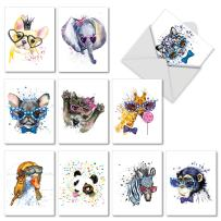 Funky Colorful Creatures - 10 Watercolor Blank Cards with Envelopes (4 x 5.12 Inch) - Cute Animals, All Occasion Note Cards for Kids AM6749OCB-B1x10