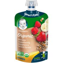 Gerber Organic 2nd Foods, Bananas, Red Berries & Granola Pureed Baby Food, 3.5 Ounce Pouch, 12 count