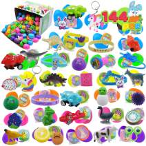 144 Pcs Prefilled Premium Easter Eggs Hinged 2 ⅜ with Toys and Stickers for Easter Eggs Hunt, Basket Stuffers Fillers, Party Favor, Surprised Eggs, Classroom Prizes, Party Decor