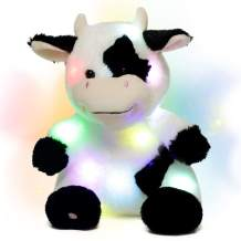Hopearl LED Plush Cow Light up Stuffed Animal Diary Cattle Floppy Night Lights Glow in The Dark Birthday Gifts for Kids Toddler Girls, 13''