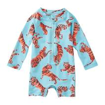 Tea Collection Shortie Rash Guard Swimwear, Baby Girls, Tossed Tiger