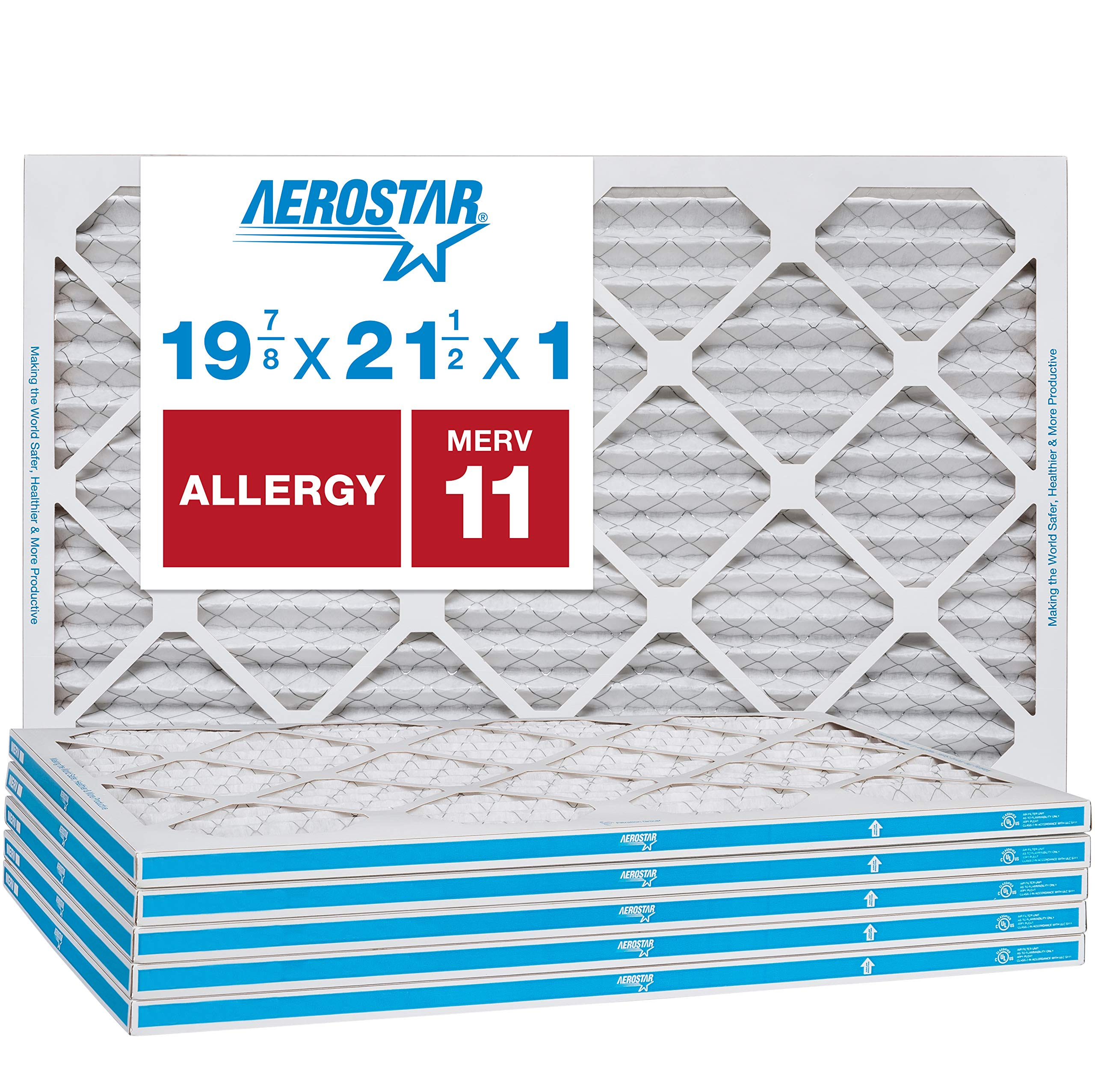 """Aerostar Allergen & Pet Dander 19 7/8 x 21 1/2x1 MERV 11 Pleated Air Filter, Made in the USA, (Actual Size: 19 7/8""""x21 1/2""""x3/4""""), 6-Pack"""