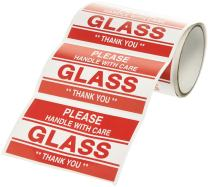 """TapeCase""""Glass, Handle with Care"""" Label - 50 per Pack (1 Pack)"""