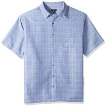 Van Heusen Men's Big and Tall Air Short Sleeve Button Down Poly Rayon Windowpane Shirt