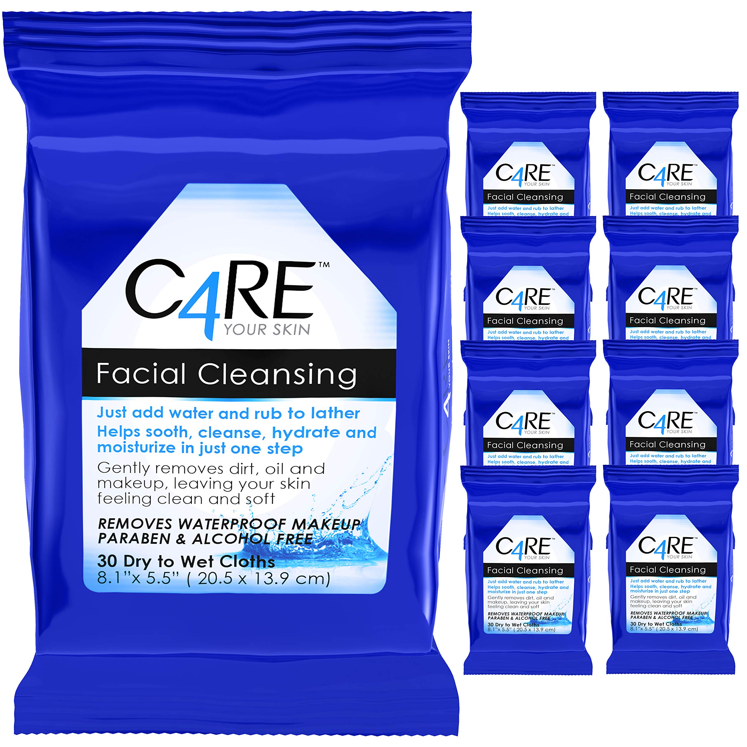 Care4 Dry to wet facial cleansing, 270 Count (9 Packs of 30 Wipes)