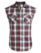 COOFANDY Men's Sleeveless Plaid Shirts Casual Button Down Cotton Vest with Pockets