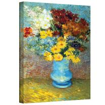 ArtWall Vincent Vangogh's Flowers in Blue Vase, Gallery Wrapped Canvas, 14 by 18-Inch