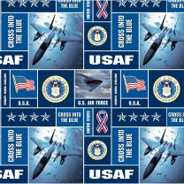 Sykel Enterprises Military Fleece U.S. Air Force Blocks Multi Fabric by The Yard, Multicolor