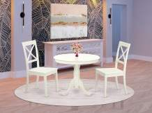 East-West Furniture ANBO3-LWH-W Wooden Dining Table Set- 2 Wonderful Wood Chairs - A Lovely Wood Table- Wooden Seat and Linen White Pedestal Dining Table