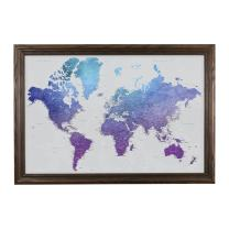 Vibrant Violet Watercolor World Travel Map with Solid Wood Brown Frame