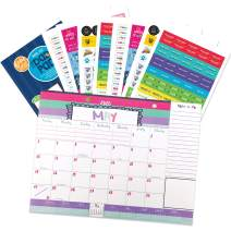 Reminder Binder 18-Month 2020-2021 Monthly Desk Calendar + Event Stickers Variety Set (Total of 644 Stickers) with Tear-Off Lists, Scheduling Tools, Bill Pay Worksheet and More (Bundle of 2 Items)
