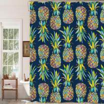 "MitoVilla Tropical Fruit Pineapple Shower Curtain Set with Hooks, Aloha Jungle Plant Bathroom Art Decor for Summer Home, Pineapple Gifts for Women, Men, Kids and Girls, Colorful, 72"" W x 72"" L"