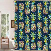"""MitoVilla Tropical Fruit Pineapple Shower Curtain Set with Hooks, Aloha Jungle Plant Bathroom Art Decor for Summer Home, Pineapple Gifts for Women, Men, Kids and Girls, Colorful, 72"""" W x 78"""" L"""