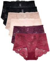 Lace Panties for Women Retro Lace Boyshort Underwear Small to Plus Size 6 Pack