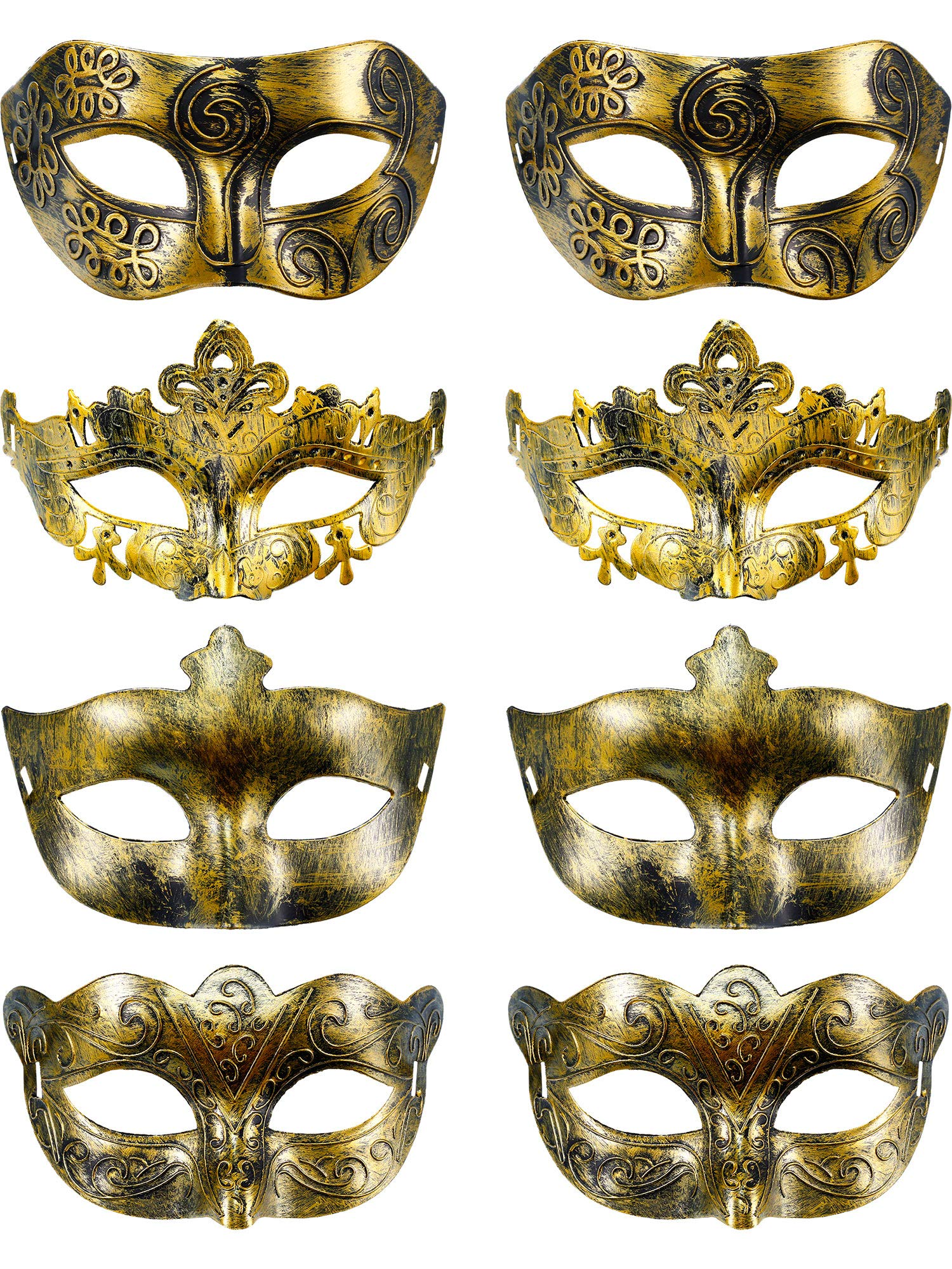 8 Pieces Vintage Antique Masks Hallowmas Masquerade Carnival Mask