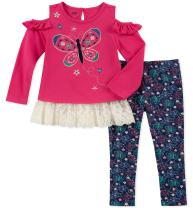 Kids Headquarters Baby Girls 2 Pieces Legging Set-Off Shoulders