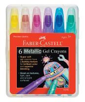 Faber-Castell Metallic Gel Crayons - 6 Twistable Crayons in Storage Case