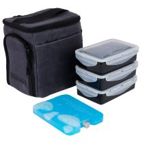 EDC Meal Prep Bag Mini by Evolutionize - Full Meal Management System - Holds 3 Meals - Includes Portion Control Meal Prep Containers + Ice Pack (MINI - 3 Meal, Grey (Waxed Canvas))