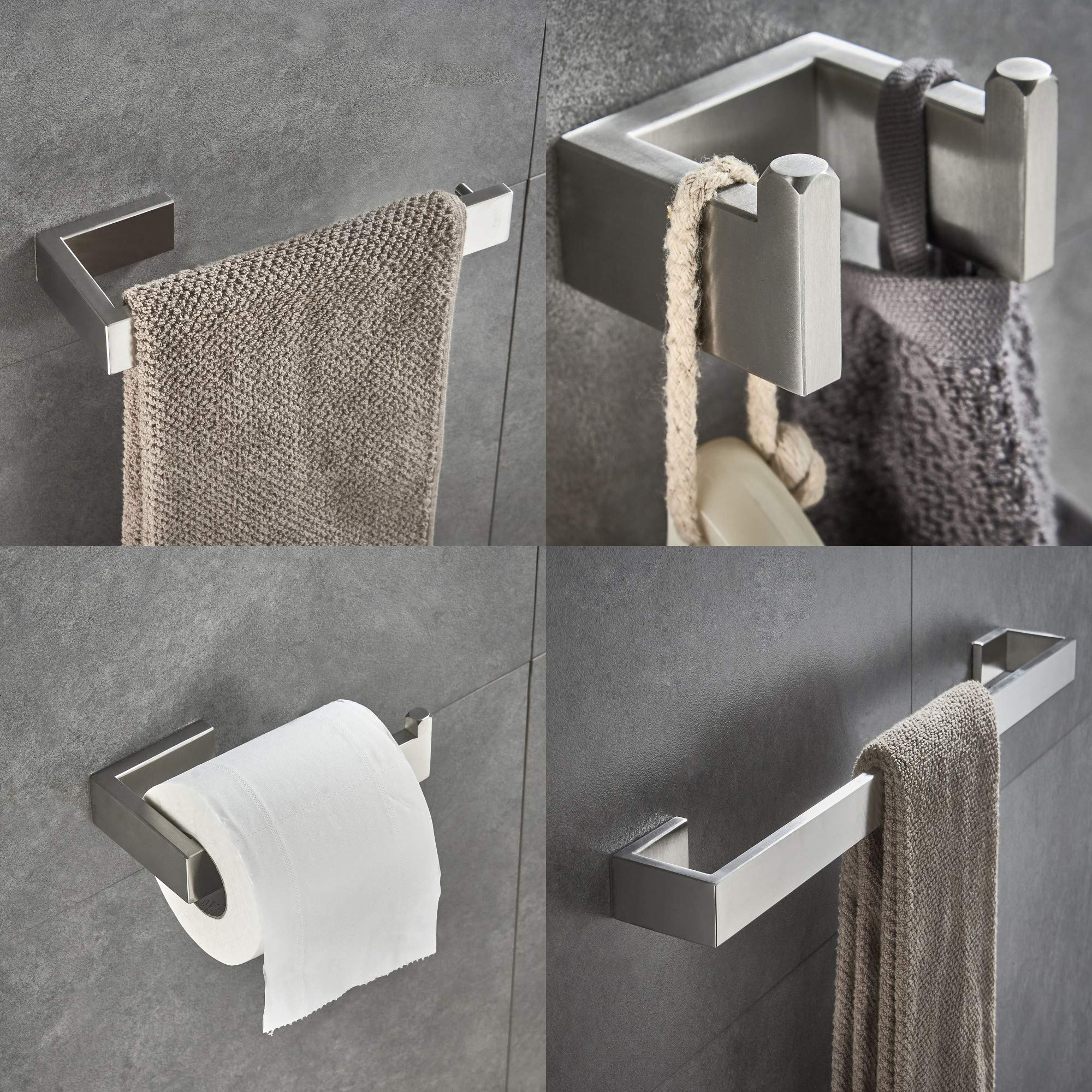 JunSun 4-Piece Bathroom Accessory Set (Towel Bar Toilet Paper Holder Robe Hook Towel Holder) Contemporary Bathroom Hardware Accessories Sets Wall Mounted - Stainless Steel Brushed Nickel
